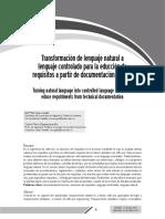 Transformación de lenguaje natural a lenguaje controlado para la educción de requisitos a partir de documentación técnica