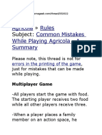 Agricola boardgame Rules Common Mistakes