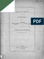 Discurso leído en la solemne inauguración de la Universidad Literaria de Vitoria el 1.º de Octubre de 1869, por Mateo Benigno de Moraza