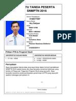 Kartu Pendaftaran SNMPTN 2016 4160077997
