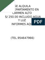 Se Alquila Departamento en Carmen Alto