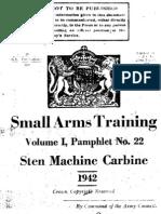 Sten Gun Small Arms Training Volume I. No. 22 Sten Machine Carbine