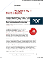 Customer Analytics is Key to Growth in Banking