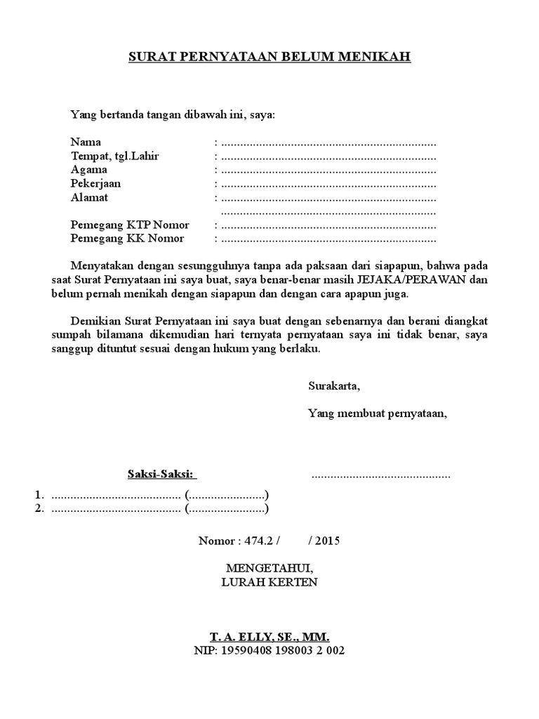 Surat Pernyataan Belum Menikahdocx