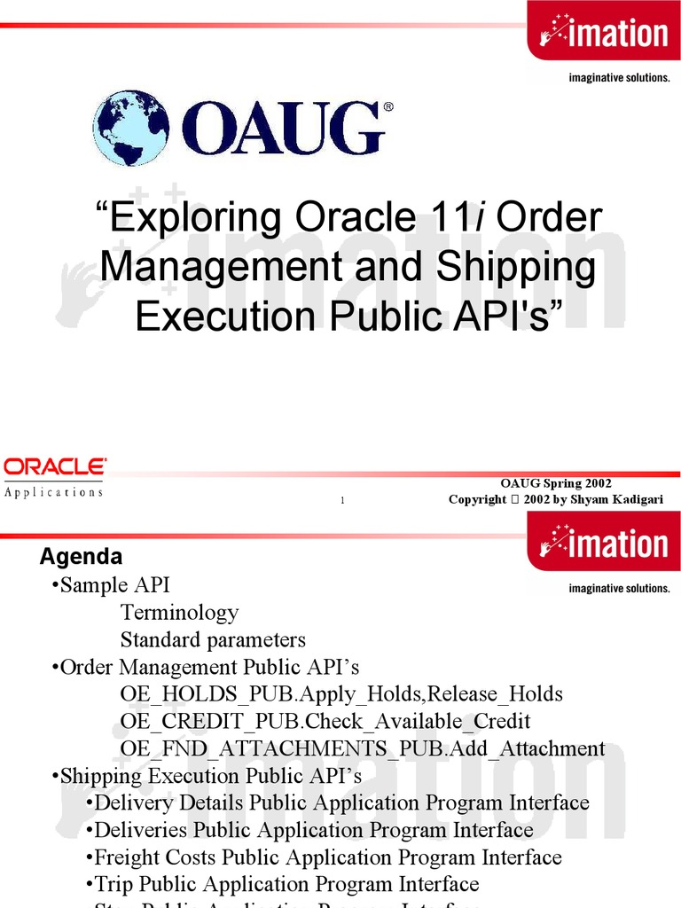 Order and Shipping API's | Application Programming Interface