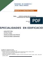 Esp. en Edificacion y Mat. de Construccion