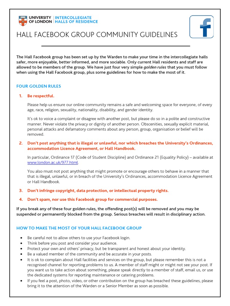04 Hall Facebook Group Community Guidelines Facebook Privacy