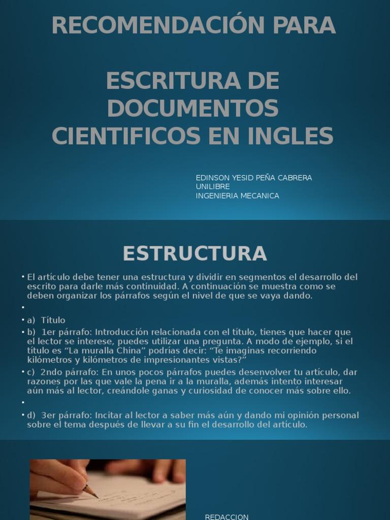 Diapositivas Recomendación Para Escritura de Documentos Cientificos ...