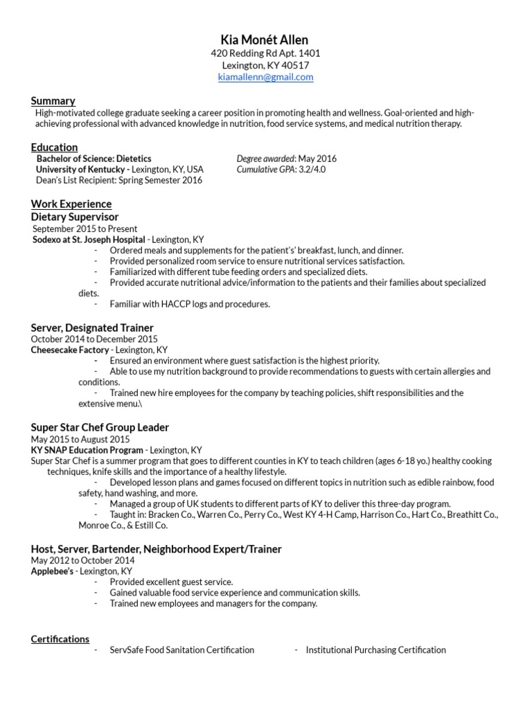 Resume dietitian nutrition xflitez Image collections