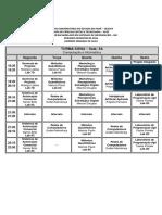 Tabela disciplinas curso bsi 5 semestre