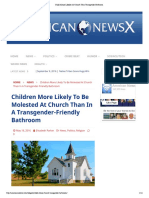 Child Abuse Likelier at Church Than Transgender Bathroom