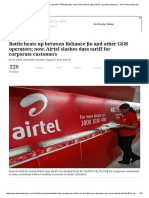 Battle Heats Up Between Reliance Jio and Other GSM Operators; Now, Airtel Slashes Data Tariff for Corporate Customers - The Financial Express