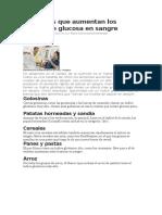 Alimentos Que Aumentan Los Niveles de Glucosa en Sangre