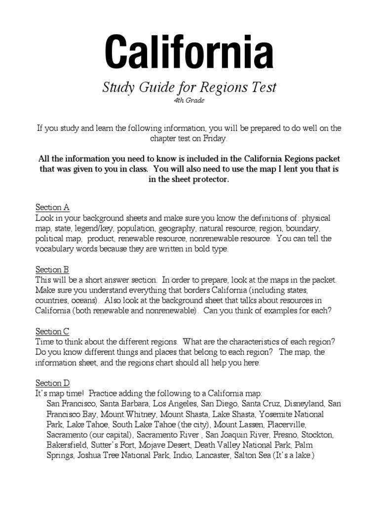 Calif Region Studyguide2016