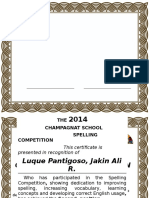 Festival of Language 2015 Certificate