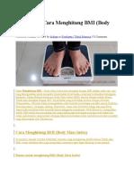 Rumus Dan Cara Menghitung BMI