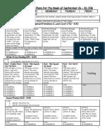 Lesson Plans for September 26 - 30