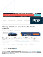 Class 7 Important Questions for Maths – Integers