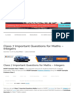Class 7 Important Questions for Maths – Integers | Test