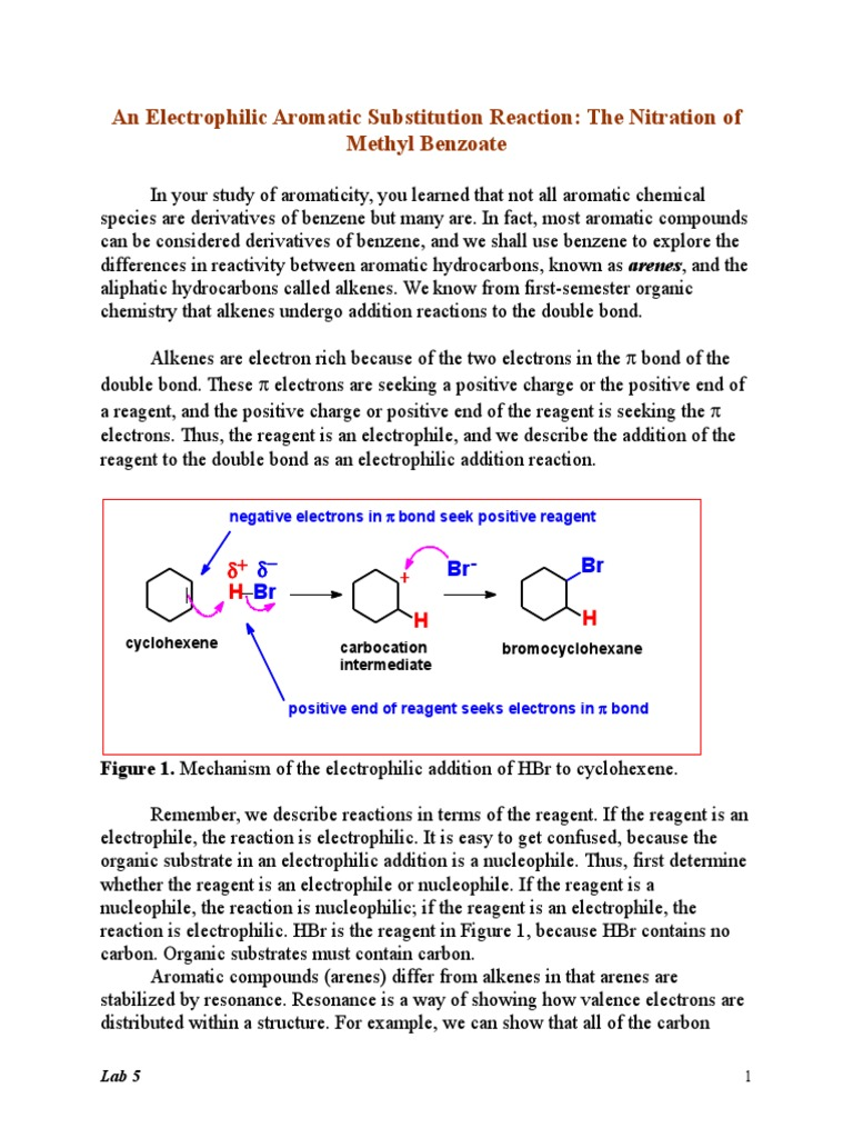 electrophilic aromatic substitution lab report conclusion