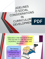 Guidelines to Social Considerations in Curriculum Development 1
