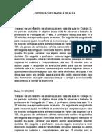 RELATÓRIO DAS OBSERVAÇÕES EM SALA DE AULA