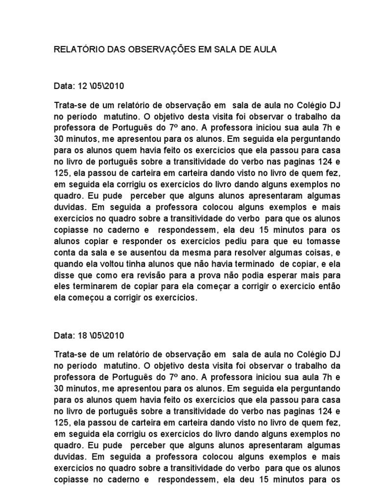 Conhecido RELATÓRIO DAS OBSERVAÇÕES EM SALA DE AULA FN53