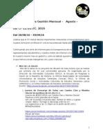 10ª Avance Mensual de Gestión del CF EE.GG.CC. - Agosto-Setiembre