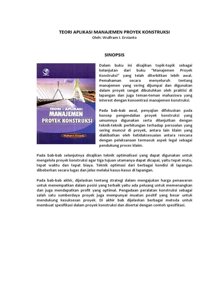Manajemen proyek konstruksi ervianto pdf