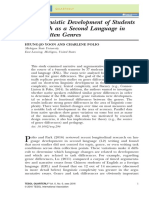 The Linguistic Development of Students of English as a Second Language in Two Written Genres