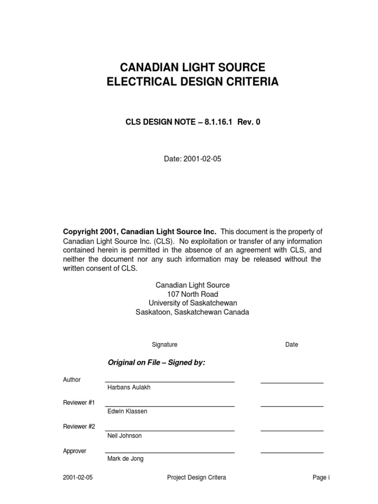 Canadian Light Source Electrical Design Criteria Aulakh 81161 Wiring Permanent Magnet Latching Contactors For Nonmotor And Lighting 81161rev 0 Transformer Relay