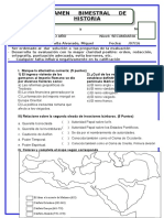 Examen 3 Bimestral - Historia - 2 Secundaria