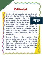 Periodico Mural Sobrre El Día de Santa Rosa de Lima