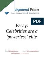 Essay Sample Document - Celebrities are a 'powerless' elite