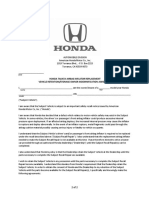 Honda Takata Air Bag Agreement