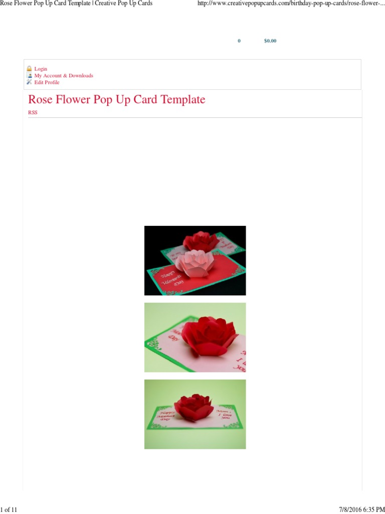 rose flower pop up card template creative pop up cards computing
