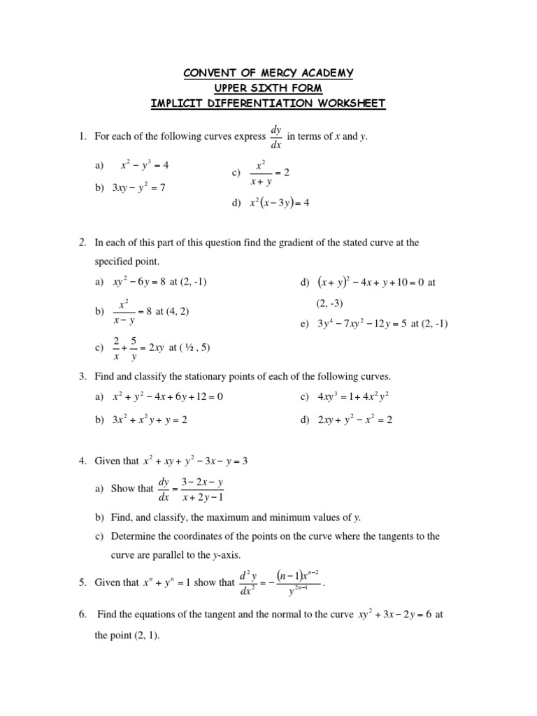 Worksheets Implicit Differentiation Worksheet implicit differentiation worksheet