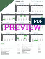 Kalender 2019 a4 Staand Feestdagen Preview