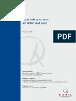 EDHEC Position Paper Juste Valeur