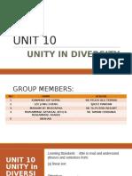 Unit 10 - Unity in Diversity