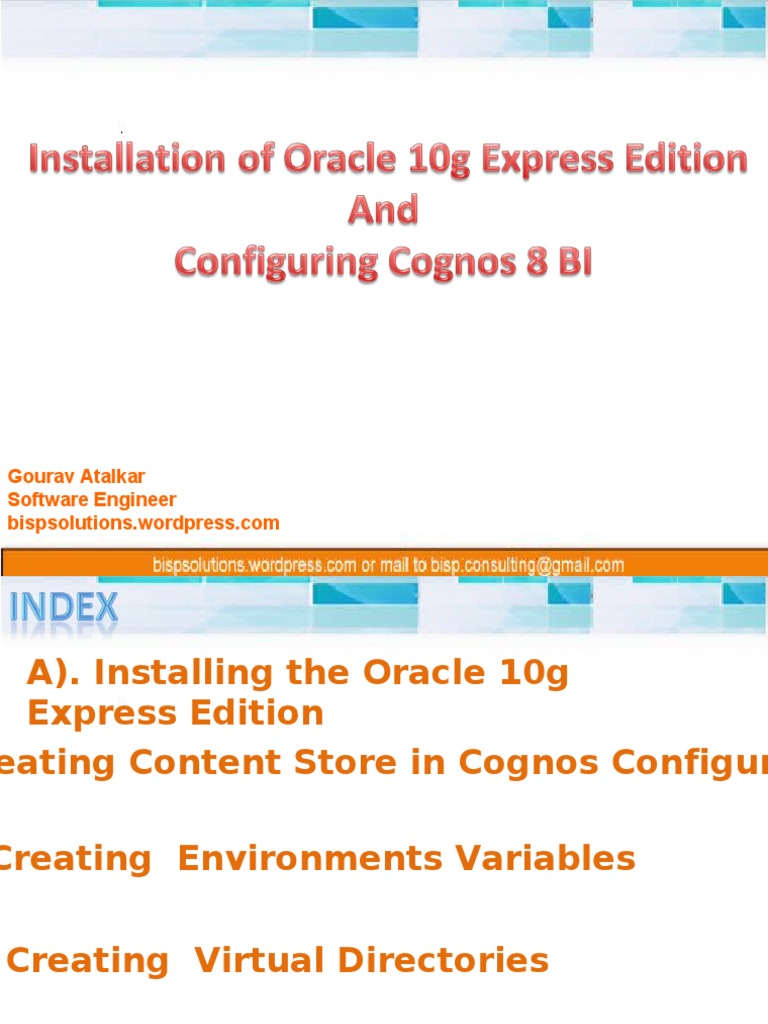 Session--04--Cognos 8 Content Store Creation in Oracle 10g