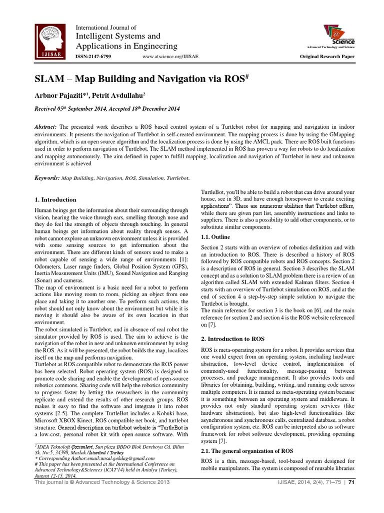 SLAM – Map Building and Navigation via ROS: Intelligent