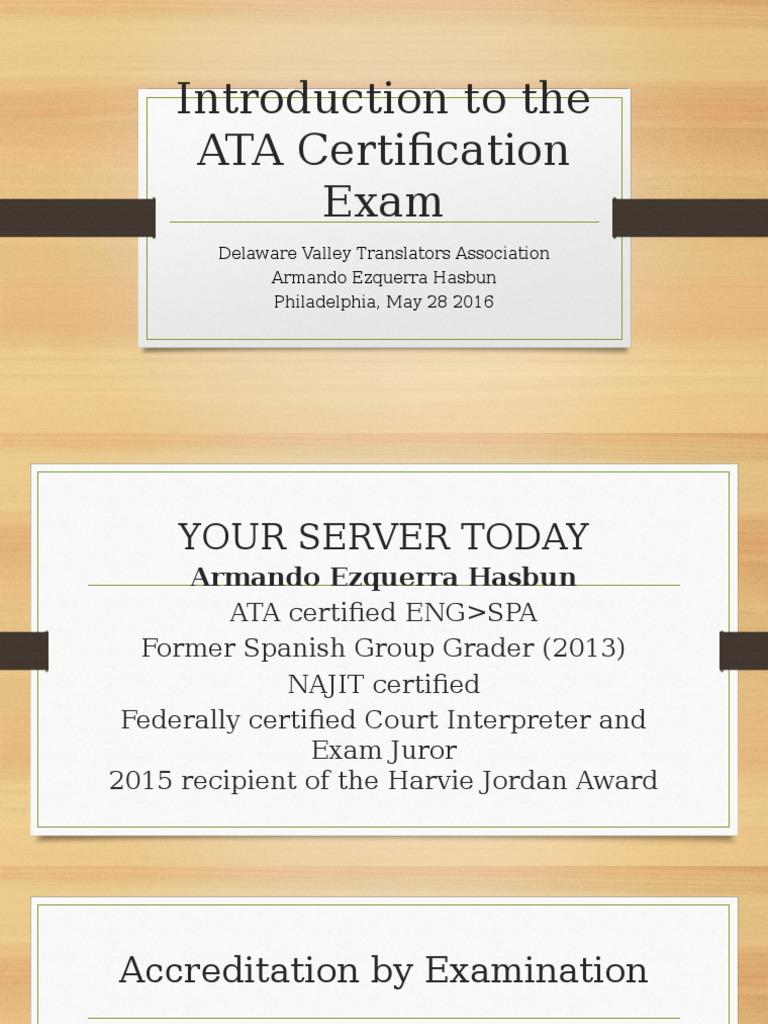 Ata Certification Exam Presentation Professional Certification