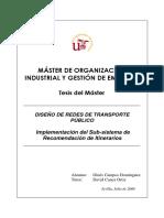 Diseño de Redes de Transporte Público. Ginés Campos Domínguez. Memoria Tesis Máster