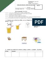 evaluacion  CIENCIAS  Materia 4°