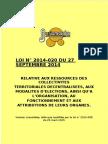 Loi 2014 20 Ressources Des Collectivites Territoriales Decentralisees_modalites d'Election_organisation_fonctionnement Et Attributions de Leurs Organes