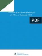 Art 215 Inc h Reglamento HCDN y Art 202 Reglamento HSN