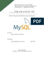 Listado de Sentencias Básicas en SQL