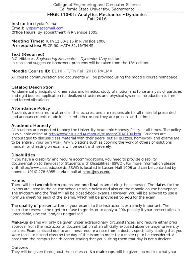 Syllabus_ Fall 16 T th (2) | Momentum | Equations Of Motion