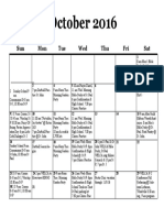 Calendar, October 2016